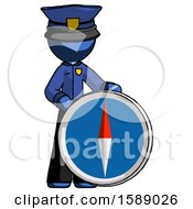Blue Police Man Standing Beside Large Compass