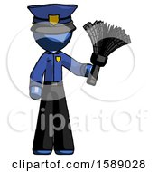 Blue Police Man Holding Feather Duster Facing Forward