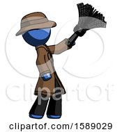 Blue Detective Man Dusting With Feather Duster Upwards