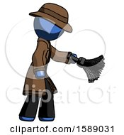 Blue Detective Man Dusting With Feather Duster Downwards
