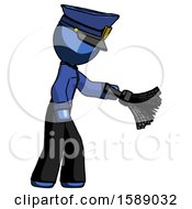 Blue Police Man Dusting With Feather Duster Downwards