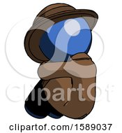 Blue Detective Man Sitting With Head Down Back View Facing Left