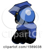 Blue Police Man Sitting With Head Down Back View Facing Left
