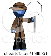 Blue Detective Man Holding Stop Sign