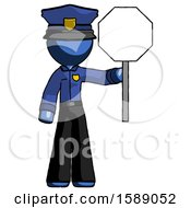 Blue Police Man Holding Stop Sign