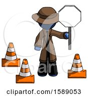Blue Detective Man Holding Stop Sign By Traffic Cones Under Construction Concept