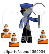 Blue Police Man Holding Stop Sign By Traffic Cones Under Construction Concept