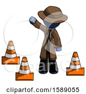 Blue Detective Man Standing By Traffic Cones Waving