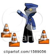 Blue Police Man Standing By Traffic Cones Waving