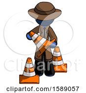 Blue Detective Man Holding A Traffic Cone