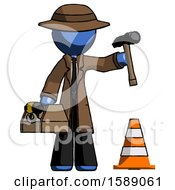 Blue Detective Man Under Construction Concept Traffic Cone And Tools