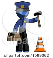 Blue Police Man Under Construction Concept Traffic Cone And Tools
