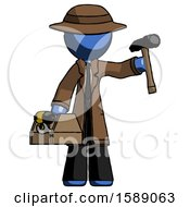 Blue Detective Man Holding Tools And Toolchest Ready To Work