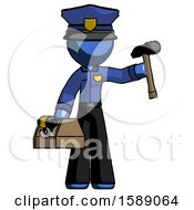 Blue Police Man Holding Tools And Toolchest Ready To Work