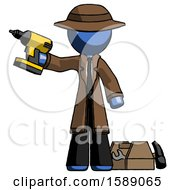 Blue Detective Man Holding Drill Ready To Work Toolchest And Tools To Right
