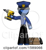 Blue Police Man Holding Drill Ready To Work Toolchest And Tools To Right