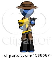Blue Detective Man Holding Large Drill