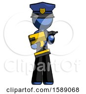Blue Police Man Holding Large Drill