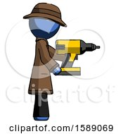 Blue Detective Man Using Drill Drilling Something On Right Side