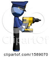Blue Police Man Using Drill Drilling Something On Right Side