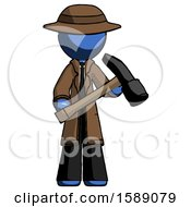 Blue Detective Man Holding Hammer Ready To Work
