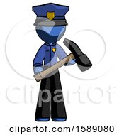Blue Police Man Holding Hammer Ready To Work