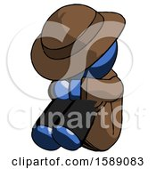 Blue Detective Man Sitting With Head Down Facing Angle Left
