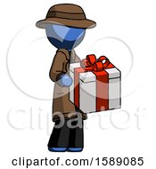 Blue Detective Man Giving A Present