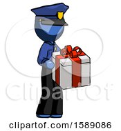 Blue Police Man Giving A Present