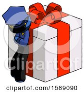 Blue Police Man Leaning On Gift With Red Bow Angle View