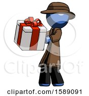 Blue Detective Man Presenting A Present With Large Red Bow On It