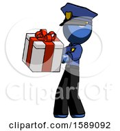 Blue Police Man Presenting A Present With Large Red Bow On It