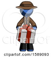 Blue Detective Man Gifting Present With Large Bow Front View