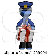 Blue Police Man Gifting Present With Large Bow Front View