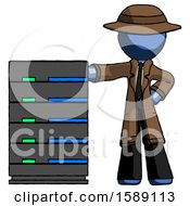 Blue Detective Man With Server Rack Leaning Confidently Against It