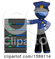 Blue Police Man With Server Rack Leaning Confidently Against It