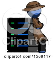 Blue Detective Man Resting Against Server Rack Viewed At Angle