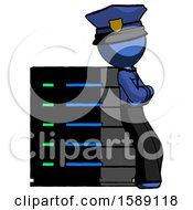 Blue Police Man Resting Against Server Rack Viewed At Angle