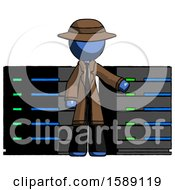 Blue Detective Man With Server Racks In Front Of Two Networked Systems