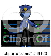 Blue Police Man With Server Racks In Front Of Two Networked Systems