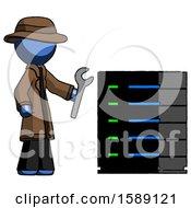 Blue Detective Man Server Administrator Doing Repairs
