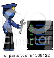 Blue Police Man Server Administrator Doing Repairs
