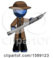 Blue Detective Man Holding Large Scalpel