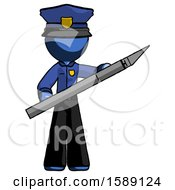 Blue Police Man Holding Large Scalpel