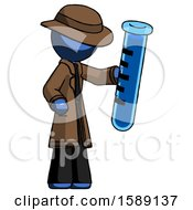 Blue Detective Man Holding Large Test Tube