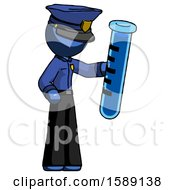 Blue Police Man Holding Large Test Tube