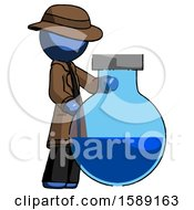 Blue Detective Man Standing Beside Large Round Flask Or Beaker