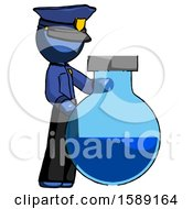 Blue Police Man Standing Beside Large Round Flask Or Beaker