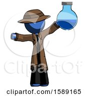 Blue Detective Man Holding Large Round Flask Or Beaker