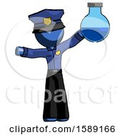 Blue Police Man Holding Large Round Flask Or Beaker
